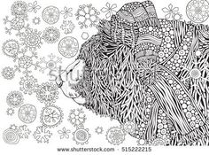 Cute Winter Bear in knitted hat and scarf. It's snowing. Coloring book page for adult and children. Zentangle patterns. Black and white monochrome background. A4 size.