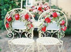 Flowery chair decorations