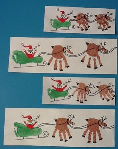 Kids hand a foot print christmas picture - Father Christmas and reindeer