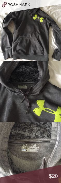 Under Armour Hoodie Women's Medium. LIKE NEW! Grey under armour hoodie with green logo. Semi-fitted cold gear Under Armour Tops Sweatshirts & Hoodies