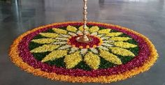 Here are some very beautiful flower rangoli designs for Diwali, Onam, Pongal, and Durga puja. Flower rangoli are easy to make and very gorgeous to look at. Rangoli Designs Flower, Rangoli Patterns, Rangoli Ideas, Rangoli Designs Diwali, Flower Rangoli, Beautiful Rangoli Designs, Kolam Designs, Flower Designs, Rangoli With Flowers