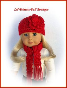 American Girl Doll Clothes Crochet Hat and Scarf Set, RED Sparkle, 18 Inch