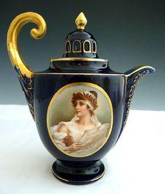 KPM porcelain teapot cobalt gold c. 1860's  Royal Vienna double portrait