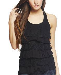 """Stylish from every direction, this adorable lace tank features rows of tiered knit and floral lace ruffles in front, scoop neckline, racer back with see-through lace inset.  Model is 5'9"""" and wears a size small   60% Cotton / 40% Polyester Machine Wash Imported"""