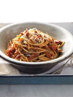 Bucatini all'Amatriciana This bucatini all'Amatriciana recipe is made with bucatini, a long pasta with a very thin hole in the center, so it's kind of like chewy spaghetti tubes. Sauce Amatriciana is one of the oldest Italian tomato sauces