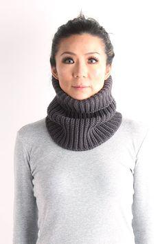 neckwarmer, wool knit mask, unisex neckwarmer, knit cow,  knit neckwarmer,chunky knit neckwarmer, gift for him, black knit neckwarmer