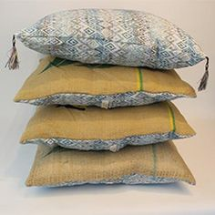 Burlap Rustic Pillow Case set of 2 / Upcycled Pillow from Coffee Sack / Country, Vintage Cusion Cover Square Burlap Pillows, Rustic Pillows, Vintage Pillows, Throw Pillows, Home Tex, New Home Presents, Istanbul, Coffee Sacks, Diy Cushion