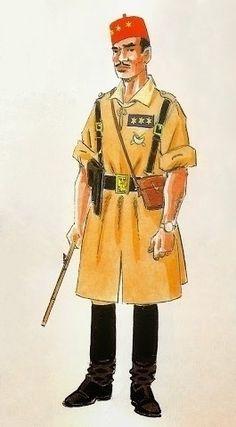 Los Regulares. Uniformes de 1943 Capitán en uniforme de marcha y maniobras