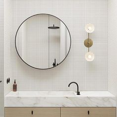 Dot and Pop - Bathroom with mosaic tiles, round mirror and gorgeous lighting Modern Room, Modern Bathroom, Small Bathroom, Master Bathroom, Round Bathroom Mirror, Bathroom Inspo, Bathroom Ideas, Restroom Design, Walk In Shower Designs