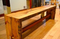 reclaimed wood bench