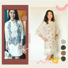 "If you're curious, that being so, what I got are the two of the most traditional clothing in the Philippines. The Barong Tagalog, which comes from the root word ""baro"" meaning upper garment or in other words, "" Barong Tagalog"" Barong Tagalog For Women, Root Words, Traditional Outfits, Philippines, Two By Two, Summer Dresses, Elegant, Modern, Clothing"