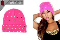 Marialia Hot Pink Beanie With Studs    http://style-card.co.uk/portal/2012/11/daily-buy-marialia-hot-pink-beanie-with-studs/