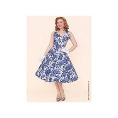 1950s Halterneck Wild Rose Royal Dress from Vivien of Holloway (£89) via Polyvore