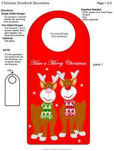Doorknob Hangers, Door Knobs, Door Hangers, Christmas Crafts, Xmas, Christmas Ideas, Door Hanger Template, Paper Banners, Free Christmas Printables