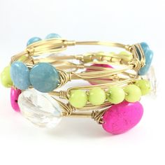 This beautiful Bright Yellow/Green Jade Wire Wrap Wire Wrapped Bangle is great for summer! So many colors look good with this including pink,