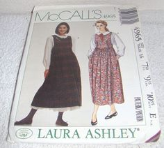 1980 39 s laura ashley dress vintage mccall 39 s sewing pattern 8492 cut size 10 bust 32 1 2. Black Bedroom Furniture Sets. Home Design Ideas