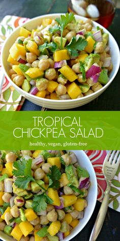 Tropical Chickpea Salad is great for lunches or potlucks. It's healthy, low-fat, and full of nutrients from mangoes and avocados. (vegan and gluten-free) via @VeggiesSave