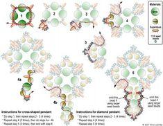 FREE beading pattern for Tudor Cross Pendant Beading Patterns Free, Beaded Jewelry Patterns, Beading Tutorials, Bracelet Patterns, Free Pattern, Seed Bead Jewelry, Diy Jewelry, Seed Beads, Seed Bead Flowers