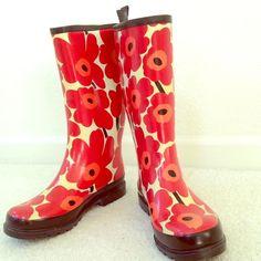 Marimekko Shoes - MARIMEKKO Unikko Poppy Print Rain Boots 7