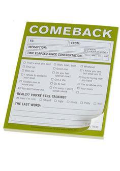 Comeback Notepad - I need this