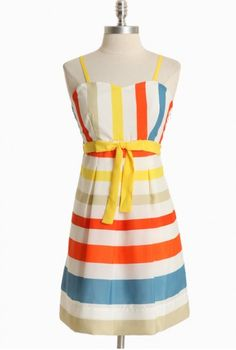Coney Island Carnival Striped Dress
