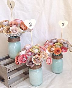 Table numbers. Wedding centerpiece. paper roses. rustic wedding. Mason – kC2designs by Kerry