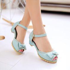 Women's Ankle Strap Peep Toe Square Heel Sandals