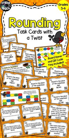 This task card game makes reviewing rounding skills fun for your 3rd-6th grade students! Included in this resource are 32 task cards, 2 game boards (1 short game, and 1 longer game), QR codes on each card that students can quickly scan with an electronic device to check their answers, an answer sheet, and an answer key.   Skills covered: -Rounding from tens to the millions place -Rounding using a number line -Rounding to the underlined digit and a given place -Rounding in word problems