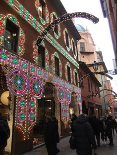 Pretty christmas lights in the streets of Bologna