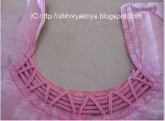 neck design made with cord or dori Churidhar Neck Designs, Kids Blouse Designs, Simple Blouse Designs, Neck Designs For Suits, Neckline Designs, Dress Neck Designs, Hand Designs, Chudidhar Designs, Design Ideas