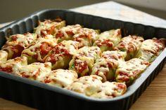 Spinach, ricotta, and pesto stuffed jumbo shells.