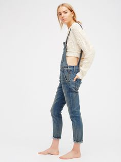FP FREE PEOPLE Washed Distressed Skinny Denim Overall (Milo Wash)