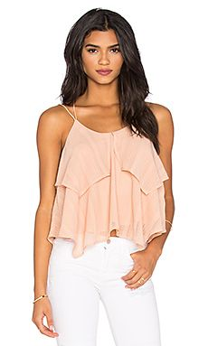 J.O.A. Ruffle Tank in Dusty Pink