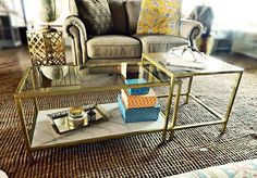 Hollywood Glamour Gold Glass Coffee Tables with Faux Marble Shelf by CreationsbyALeigh on Etsy https://www.etsy.com/listing/278853318/hollywood-glamour-gold-glass-coffee