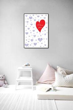 I love you Nursery printable Hearts print Kids room decor Printable Hearts, Printable Wall Art, Ups Store, I Love You, My Love, Home Printers, Photo Center, Heart Print, Artwork Prints