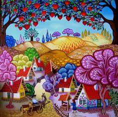 Seeds spill - by Laszlo Koday ~Hungarian Folk Art Illustration Art, Illustrations, Cottage Art, Arte Popular, Naive Art, Whimsical Art, Landscape Art, Painting & Drawing, Amazing Art