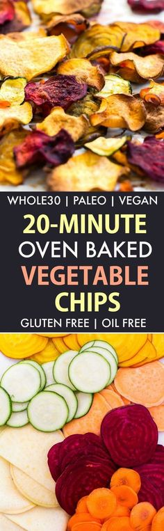 Crispy Oven Baked Vegetable Chips Paleo, Vegan, Gluten Free)- Easy crispy oil-free baked veggies which are the perfect approved snack or savory side dish- Ready in 20 minutes! - Recipe on thebigmans paleo diet menus Savory Snacks, Vegan Snacks, Paleo Vegan, Paleo Diet, Vegan Raw, Paleo Food, Whole Food Recipes, Vegetarian Recipes, Cooking Recipes