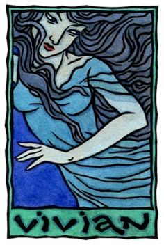 """VIVIAN is one of the many names of the """"Lady of the Lake"""" in the Arthurian legends. """"Lady of the Lake"""" may have been a title that was applied to a priestess. Or it may represent memories of a Celtic lake Goddess or fairy. She is also Nimue of the sacred groves and one of the four queens who bore Arthur away to the Isle of Avalon after he was mortally wounded. Her realm is Fate and the land of the dead or Otherworld. (read more: http://www.thaliatook.com/AMGG/vivian.php)"""