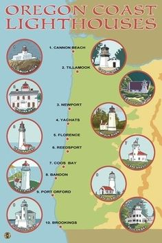 Check these out when you bike down the coast! Oregon Coast Lighthouses - Lantern Press Poster