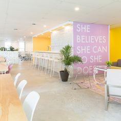These Coworking Spaces Are Killing the Office Decor Game – Luxury Office Designs Cool Office Space, Office Space Design, Workspace Design, Office Workspace, Office Interior Design, Office Interiors, The Office, Office Spaces, Cool Office Decor