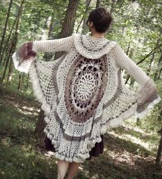 This summer has been super busy but hugely rewarding, filled with family, friends, and outdoor adventurings. Like at Clifty Falls! And playing with yarn… tons of that. It's been a littl… Crochet Vest Pattern, Crochet Jacket, Crochet Cardigan, Crochet Shawl, Knit Crochet, Knitting Patterns, Crochet Patterns, Crochet Circles, Crochet Mandala