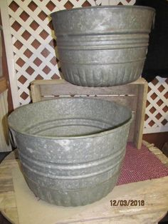 2 Antique Galvanized Steel Round Laundry Baskets Excellent Condition Ribbed Bushel Baskets with Handles Metal Tubs by EvenTheKitchenSinkOH on Etsy