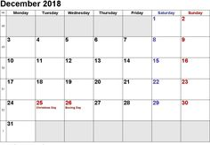 get printable december 2018 calendar with us holidays blank template notes excel sheets ms word doc with holidays in usa canada australia