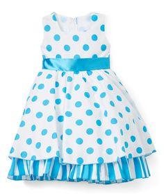 Sky & White Dot Ruffle-Hem A-Line Dress - Infant, Toddler & Girls