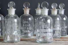 Gallivanting Girls Antique Glass Embossed Chemistry Bottles