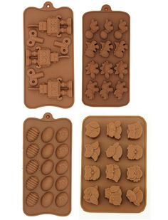 Aikoi Silicone Mould to DIY Making Candy, Chocolate, Mousse - Robot, Easter Eggs, Owls, Dinosaur(Set of 4) ** Want to know more, click on the image.