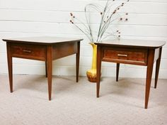 Vintage Mid Century Modern Pair of Wood End Side Tables Laminate Top Retro Weave in Antiques, Periods & Styles, Mid-Century Modernism   eBay $110.99