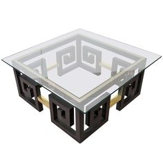 Mid Century Greek Key Coffee Table with Brass Accents For Sale