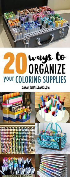 20 Clever Ways to Organize Your Coloring Supplies: organize your pencils, markers and other coloring supplies or craft room! Includes DIY craft storage ideas, storage units for pencils or markers, and other suggestions you can buy online. Arts And Crafts For Teens, Art And Craft Videos, Easy Arts And Crafts, Arts And Crafts Projects, Diy Projects, Diy Crafts, Arts And Crafts Interiors, Arts And Crafts Furniture, Craft Room Storage