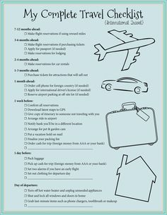 Free Printable Checklist for all of your travel needs - How To Plan a Trip - Postcards & Passports                                                                                                                                                      More